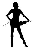 Musician. Silhouette of a sexy fiddle-playing musician isolated over a white background Stock Images