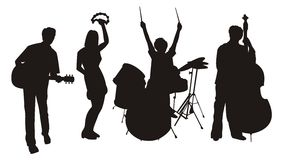 Musician silhouettes. Illustration of silhouettes of musicians with their instruments Royalty Free Stock Image