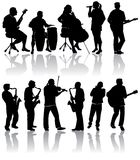 Musician silhouettes Royalty Free Stock Photography