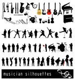 Musician silhouettes collection Royalty Free Stock Images