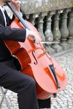 Musician Sintra Portugal. Cellist in a street Sintra Portugal stock photography