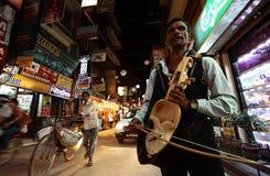 Musician. Street musician on the streets of Kathmandu Stock Photo