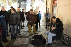 The musician on the streets of Prague Royalty Free Stock Photo