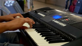 Musician subway piano stock footage
