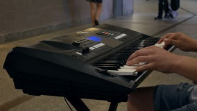 Musician subway piano stock video
