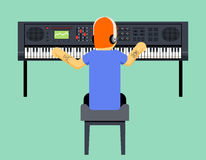 Musician Synthesizer Geek Hipster Music Player Stock Photo