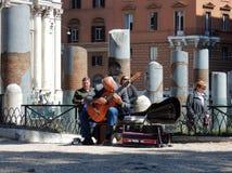 Musician at Trajan`s Forum stock images