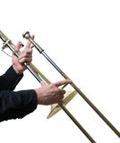 Musician with a trombone. 3D view Stock Photo
