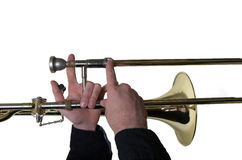Musician with a trombone. Horizontal view Stock Image