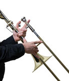 Musician with a trombone. Musician playing a trombone, jazz music Royalty Free Stock Photos
