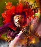 Musician: Trumpet Player (mixed mdia art) Stock Photo