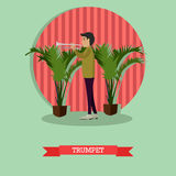 Musician trumpet player vector illustration in flat style Royalty Free Stock Images