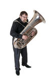 Musician with tuba Royalty Free Stock Photography