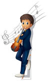 A musician with a violin and musical notes Stock Images