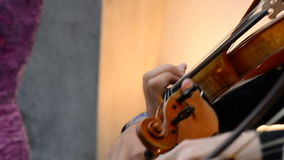 Musician violinist playing violin or viola on a concert stock footage