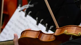 Musician violinist playing violin or viola in a string quartet on a concert stock video