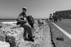Musician on the waterfront plays accordion Stock Images