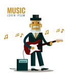 Musician wearing suit and hat playing guitar. Royalty Free Stock Images