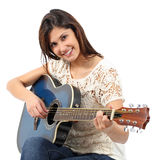 Musician woman playing guitar in a course. Isolated on a white background stock image