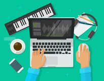 Musician workspace studio vector illustration, flat cartoon person compose electronic music on computer laptop with midi stock illustration