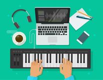 Musician workspace studio vector illustration, flat cartoon person playing midi piano keyboard, compose electronic music. Musician workspace studio vector royalty free illustration