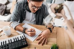 Free Musician Writing Notes Stock Photography - 102926762
