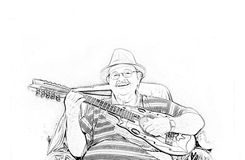 Musician Yomo Toro drawing Stock Photography
