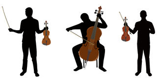 Musicians. Silhouettes musician,two play on violin,but third on celloes Royalty Free Stock Images