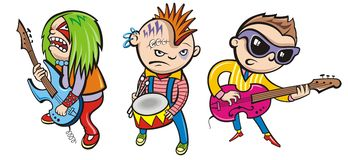 Musicians. Fun musicians of different rock styles Royalty Free Stock Photos