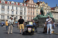 Musicians. Dixie band on a square in Prague, Czech Republic Stock Image