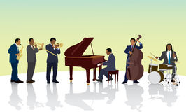 Black Musicians. An African American jazz band Royalty Free Stock Photography