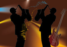 Musicians. Two saxophonists playing the jazz Stock Photography