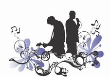 Musicians. Illustration of a singer and a guitarist Royalty Free Stock Image