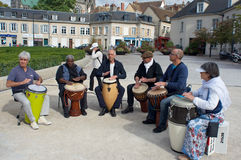 Musicians with African drums Royalty Free Stock Photo