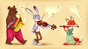 Musicians animals. Royalty Free Stock Photos