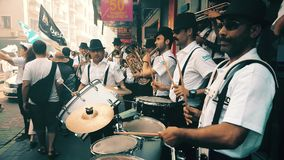 Musicians and Besiktas BJK fans celebrating championship in the street. Istanbul, Turkey - June 03, 2017: Musicians and Besiktas BJK fans celebrating stock footage