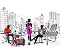 Musicians in the big city. Series of the streets with musicians in the old city vector illustration