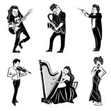 Musicians black icons set Royalty Free Stock Images