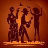 Musicians on a cabaret scene. Musicians, singer, violin and Double bass on a cabaret scene. Vector drawing on original sketch stock illustration