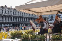 Musicians in a cafe in Piazza San Marco, Venice. Musicians in a cafe in Piazza San Marco of Venice in one summer morning, Italy royalty free stock photos