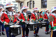 Musicians in carnival street parade Royalty Free Stock Photo