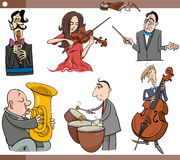 Musicians characters set cartoon Stock Image