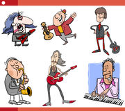 Musicians characters set cartoon Royalty Free Stock Images