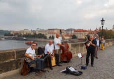Musicians on the Charles Bridge. Prague. Royalty Free Stock Photos