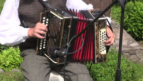 Musicians cheerfully  playing with vintage accordion stock video