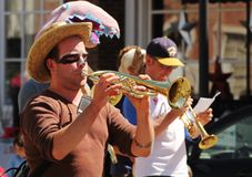 Musicians at cinqo de mayo parade Stock Images