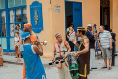 musicians communicating what to play next  and  get ready for street carnival in Havana city Royalty Free Stock Images