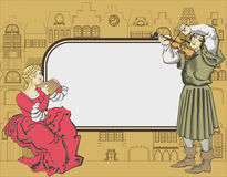 Musicians couple. Frame for text and fantasy of medieval houses and musicians couple Royalty Free Stock Images