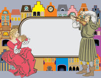 Musicians couple. Frame for text and fantasy of medieval houses and musicians couple Royalty Free Stock Photo