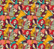 Musicians crowd seamless pattern color Stock Photo
